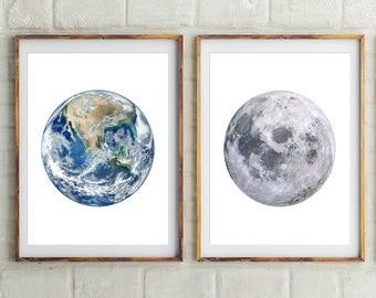 Set Of 2, Earth and Moon Prints, Planets Wall Decor, Moon, Earth, Moon Print, Wall Art, Planets, Prints, Earth Print, Earth Photography