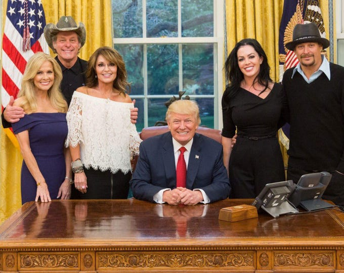 President Donald Trump with Sarah Palin, Ted Nugent and Kid Rock - 5X7 or 8X10 Photo (AA-667)