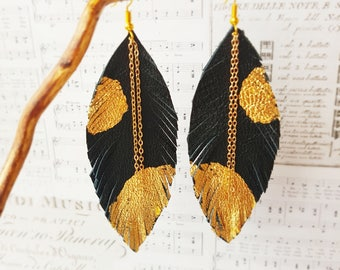 Black-gold Leather earrings, Long leather feathers earrings, Natural Leather Earrings, Lightweight earrings Boho Earrings, feathers earrings
