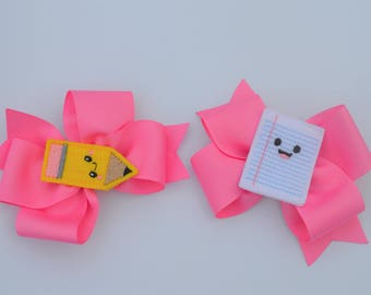 Pencil + Paper Pigtails - Pencil Hair Bow - Pencil Hair Clip - Pencil Hair Bow - Back to School Bows - Pigtail Bows - Pigtail Bow Sets