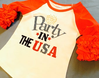 Only one left now!! 3T Party In The USA Ruffle sleeve top
