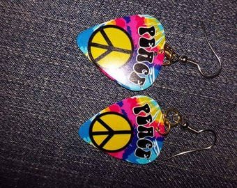 Peace guitar pick earrings