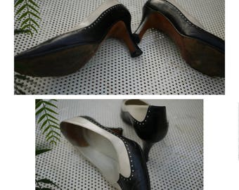 Vintage 60s/And ivory white shoes/spool heel/size 37.5 Italian-UK 4.5-USA 7.5/Made in Italy