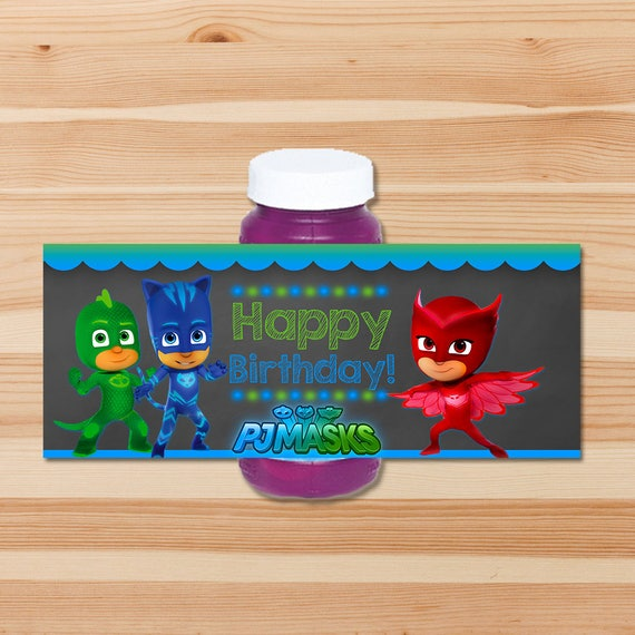 PJ Masks Birthday Bubble Label - Blue & Green Chalkboard - PJ Masks Bubble Bottle Label - PJ Masks Party - Pj Masks Party Favor Printable