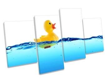 Rubber Duck Water Bathroom CANVAS WALL ART Four Panel Print