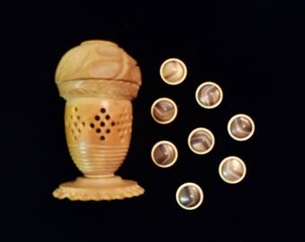 Antique Vegtable Ivory Container with Celluloid Buttons
