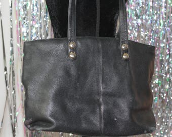 Liz Claiborne Black Large Leather Tote Handbag Purse