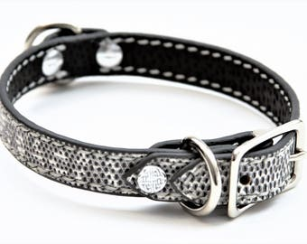 Dog Collar Genuine Lizard White/Grey