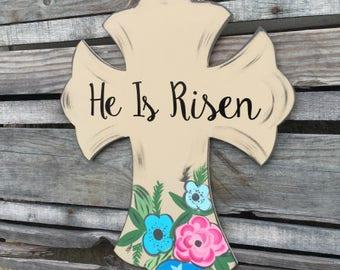 Easter Door Hanger-Cross, he is risen door decor, front door decor, wooden door hanger