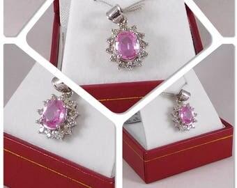 Pink Sapphire & Diamond Pendant. 14k White Gold