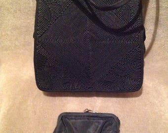 1930s / 40s Vintage CORDE Black ladies Handbag / Purse / Small Corde bag with wallet
