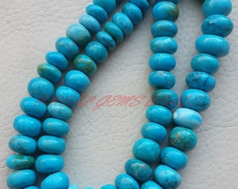 """38% OFF Turquoise Rondelle, Turquoise Smooth Rondelle Beads, 7-12 MM Size, 18"""" Strand, Loose Gemstone Beads, Roundel Beads"""