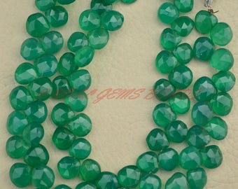 Green Onyx Heart Beads, Natural Green Onyx Faceted Heart Briolettes, 7.50-9 MM, Green Onyx Gemstone Beads, AAA Quality, 8 Inch Strand