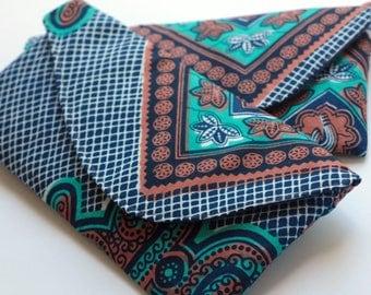 African Print Clutch, Cloth Wallet, Boho Wallet, Small Bag, Africa Wax Print Wallet, Royal Blue Clutch, Brown Clutch, African Bag