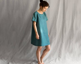 Linen short dress embroidered casual dress green dress loose oversize deers mini linen womens clothing linen tunic