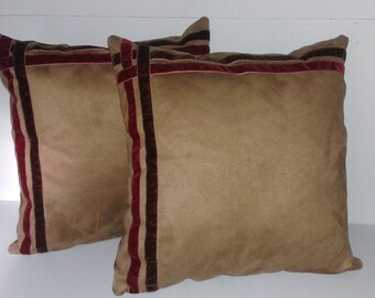 set of 2 cushions in suede and velvet