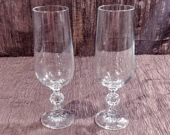 Set of 2 crystal champagne flutes/ glasses, Claudia by Import Assoc, free shipping