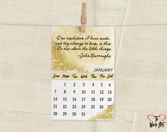 2018 Desktop sized calendar with quotes to inspire you throughout the year.