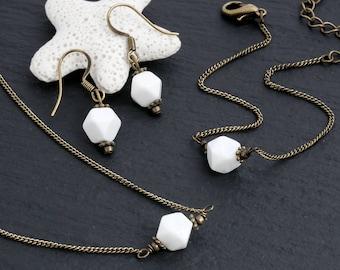 White Stone Jewelry Set, Stone Necklace, Thin Chain Bracelet, Dangle Earring, Minimal, Everyday Jewelry, Wholesale,