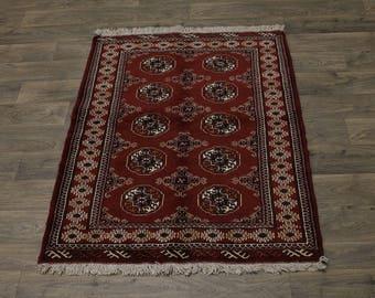 Excellent Handmade Tribal Red Turkoman Persian Area Rug Oriental Carpet 3'7X5