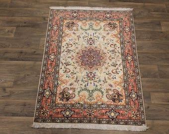 Splendid Unique Silk & Wool Handmade Tabriz Persian Area Rug Oriental Carpet 3X5