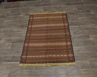 Rare Line Design Hand Woven Wool Sumak Persian Area Rug Oriental Carpet 3ʹ4X5ʹ5