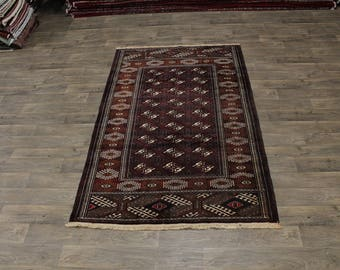 Great Shape Handmade Burgundy Turkoman Persian Area Rug Oriental Carpet 5X8