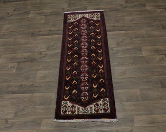 Exceptional Handmade Narrow Runner Balouch Persian Rug Oriental Area Carpet 2X6