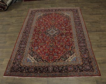 Nice Semi Antique Hand Knotted Red Kashan Persian Rug Oriental Area Carpet 7X10