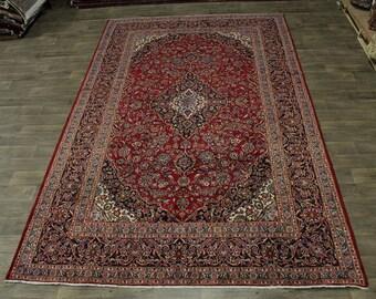 Nice S Antique Handmade Rare Size Kashan Persian Oriental Area Rug Carpet 8X13