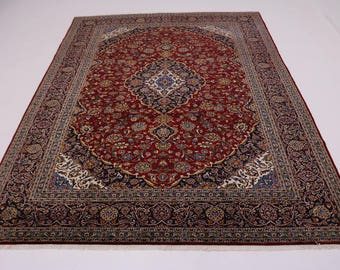 10X14 Traditional Handmade Red Kashan Persian Rug Oriental Area Carpet 9'8X13'6