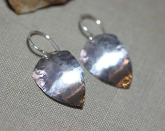 Sterling Silver Earrings Hammered Silver Rustic Jewelry Textured Silver Shield Earrings Medieval Jewelry