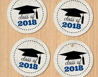 "Printable Class of 2018 Graduation Cap 1.5"" Images - Blue, Instant Download JPG for envelope seals, stickers, tags, buttons, cupcake toppers"