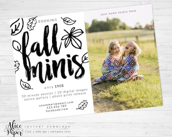 Fall mini session template, Photography Marketing, Black and white, Autumn Photography, Fall Template, Photographer, instant download