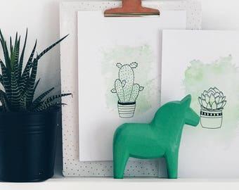 Watercolor wash cactus print
