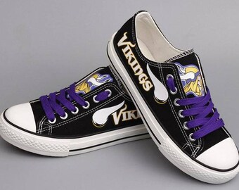 Custom Printed Low Top Canvas Shoes - Minnesota Vikings