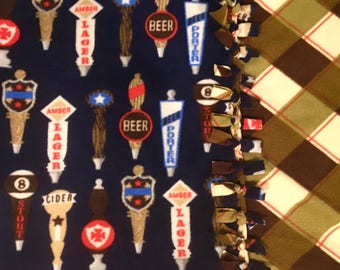 Grab a Beer on TAP! Handmade fleece Blanket designed by JAX. This throw is a Beer Tap Themed blanket, a perfect addition to your Man Cave!
