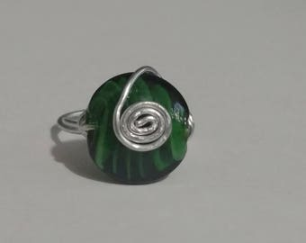 Green Glass wire wrapped ring