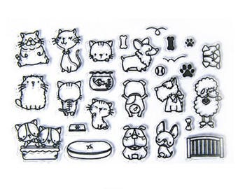 Cat Stamp, dog Stamp, animal, kawaii cat Stamp, Clear stamp, Transparent Stamp, Planner Stamp, Rubber, Diary Stamp, Planner Accessories