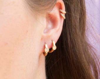 Small bezel cz gold hoops - tiny gold hoop earrings - small hoop earrings - tiny gold hoops - cartilage hoops  - gold hoops - E31148
