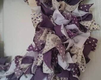 Purple and Cream Rag Wreath