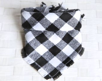 Tie on Flannel Pet Bandana Scarf, Pet Fashion Scarf, Dog Bandana Scarf, Cat Bandana Scarf - Buffalo Plaid Black White