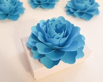 "Turquoise Favor Box Decorations 25ct. | 3"" Paper Flowers | Turquoise Wedding Decorations | Box Toppers | Gift Box Topper | Decorative Flower"
