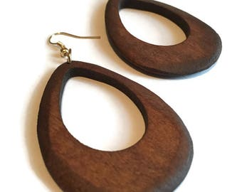 Small Wooden Hoop Earrings, 2 Inch Dangle and Drop Wooden Hoops