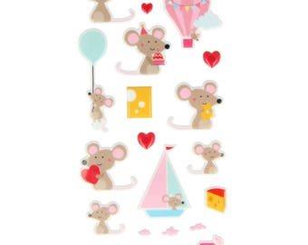 Santa Claus 20 mice - mouse - kid Puffies Stickers - 11004633 stickers
