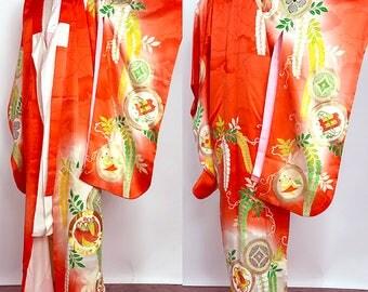"Japanes K81906 Cute Kids ""Yotsumi""Tsukesage Kimono And Nagajuban Set"