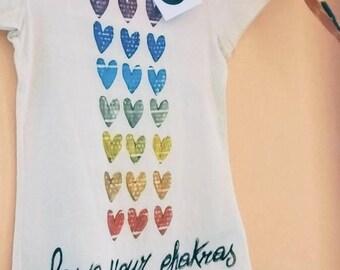T-shirt Hearts chakra Cotton bio hand painted/chakras T-shirt Organic cotton handpainted