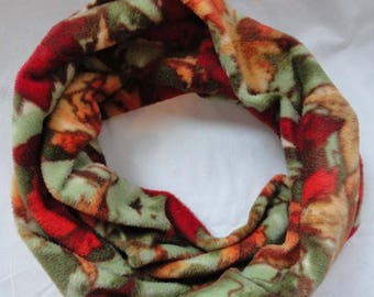ON SALE CIJ Fall Colors Fleece Infinity Scarf // Autumn Leaves // Red // Orange // Green // Gold // Gifts for Her // Women's Accessories