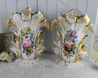 PAIR antique French vieux paris porcelain vases