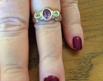 Amethyst and Peridot Sterling Silver Ring